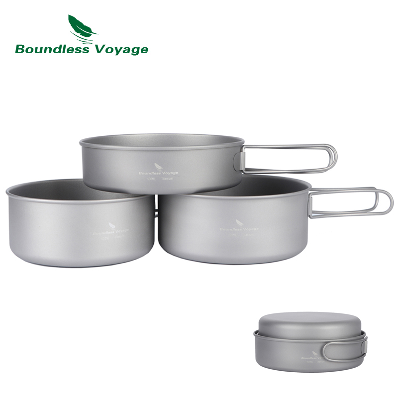 Boundless Voyage Outdoor Ultralight Titanium Pot Pan Set Titanium Cooking Pots Camping Cookware Ti1575B free software 12 15 all in one touch screen android desktop pos terminal restaurant pos machine cheap pos sytem