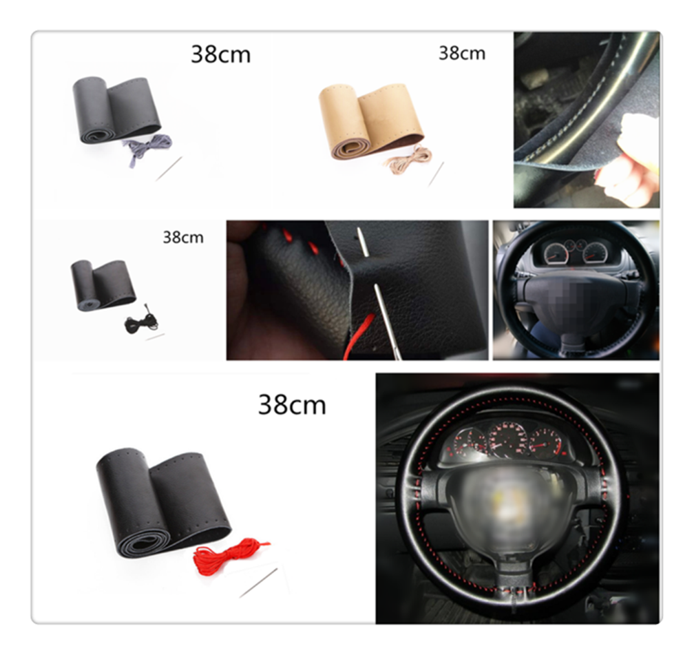 Car Steering Wheel Cover Quality Leather Hand Sewing 38 Cm