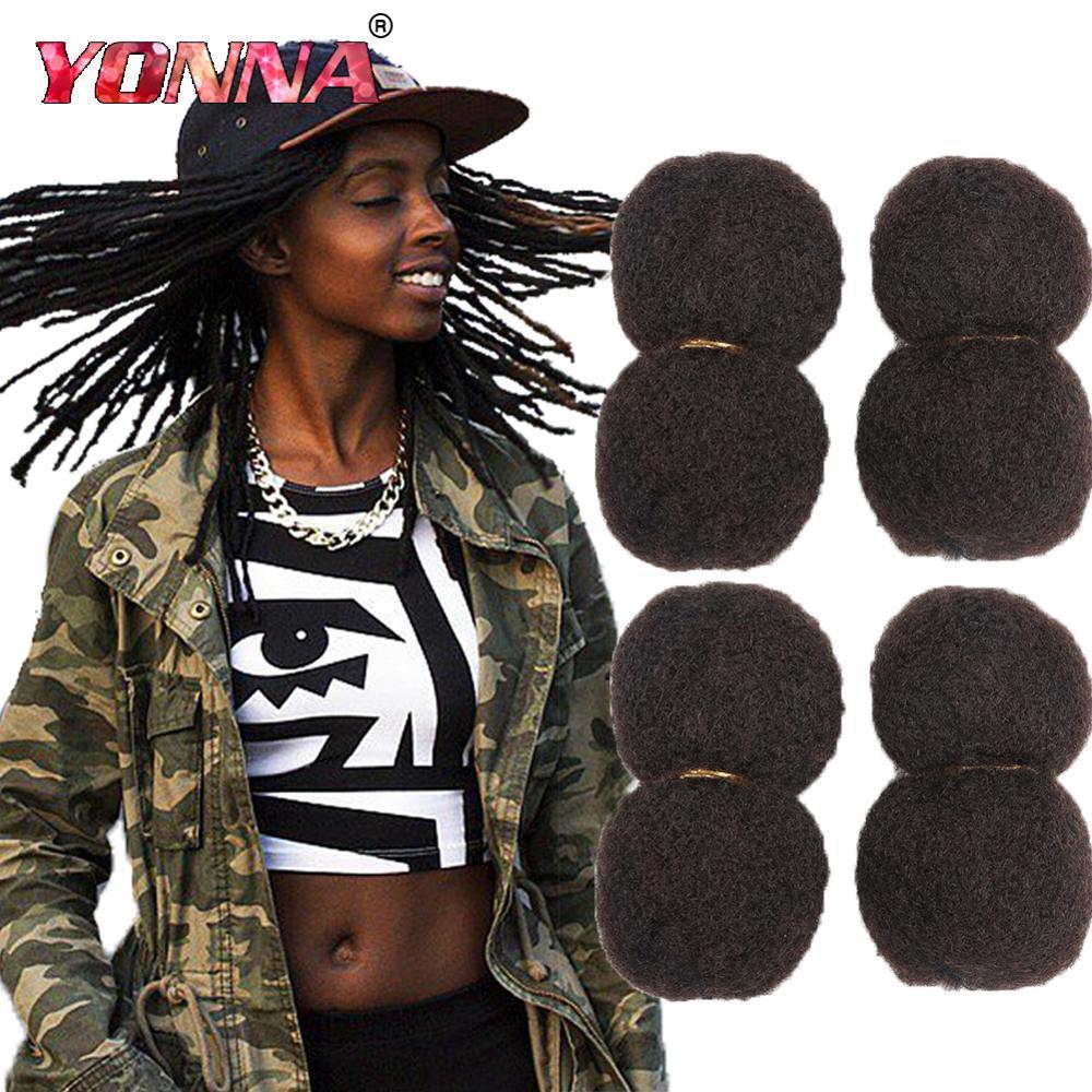 YONNA pelo Afro rizado a granel 100% cabello humano para Dreadlocks, trenzas torcidas 4 unids/lote