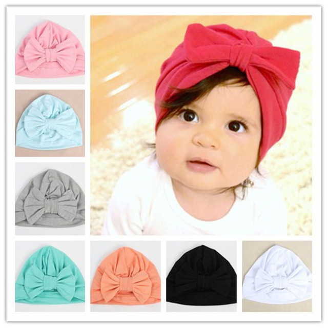 Baby Kids Cotton Bow Knotted Hat Cap Girls Boys Solid Turban Beanie  Toddlers Large Bow Infant 653b65ce8d5a
