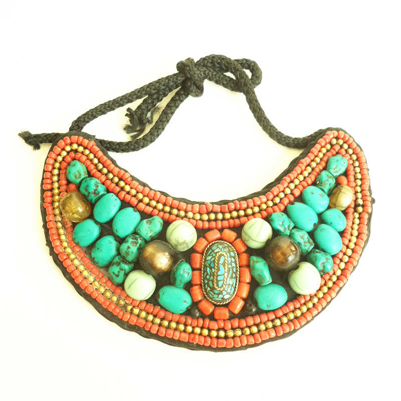 TNL166 Tibetan T-fashion Big Statement Necklace Cloth Sewed Colorful Beads Collar 2017 Fall New