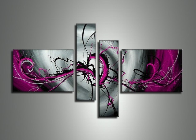Handmade 4 Piece Silver Pink Modern Abstract Oil Paintings On Canvas Wall Art Pea Pictures For Living Room Home Decoration