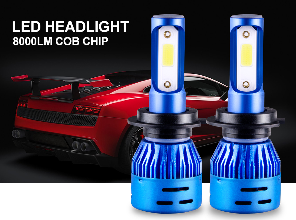 Foxcncar 1PCS 2PCS LED H7 Car Headlight H4 LED H4 H11 H1 H8 9005 H9 HB3 9006 HB4 High Low beam 8000LM 12V Mini 6500K COB 72W 24V (1)