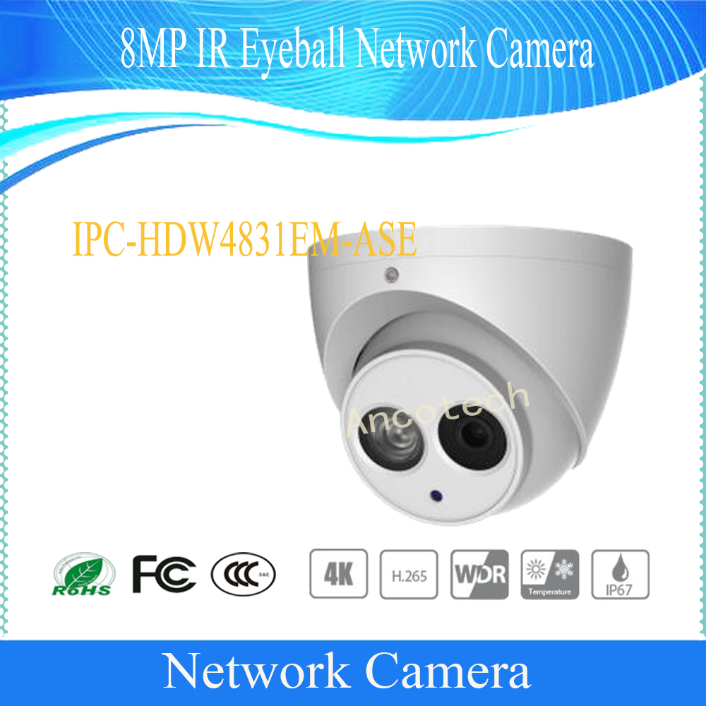 Free Shipping DAHUA Surveillance Outdoor Camera 8MP IR Eyeball Network Camera IP67 With POE without Logo IPC-HDW4831EM-ASE free shipping dahua cctv camera 4k 8mp wdr ir mini bullet network camera ip67 with poe without logo ipc hfw4831e se