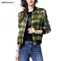 Green Plaid Jacket Women Mandarin Collar Spring Women S Jackets Zipper Long Sleeve Spliced Winter Casual