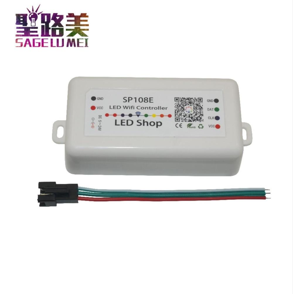 SP108E DC5V 12 v 24 v LED SPI pixel WIFI Controller durch smart telefon APP Für WS2811 WS2812B WS2813 APA102 LED Streifen Licht Band