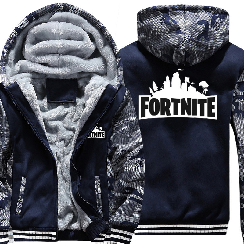 USA SIZE Super Warm Fortnite Hoodies Sweatshirts Thicken Fleece Men's Camouflage Jackets Clothing Casual Zipper Hooded Coats