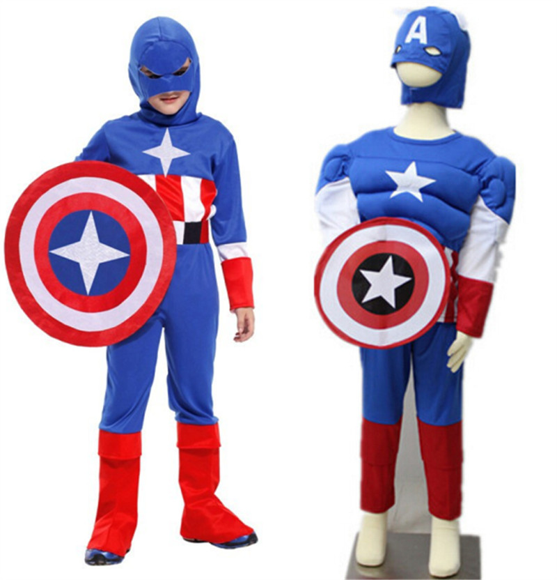Superhero Captain America Muscle Children's Day Birthday Party Costume Cosplay Clothing For Kid Chidlren Boys Girls