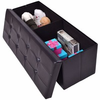 Giantex 43x15x15 Large Folding Storage PU Leather Ottoman Pouffe Home Office Organizer Box Modern Foldable Stools HW55968