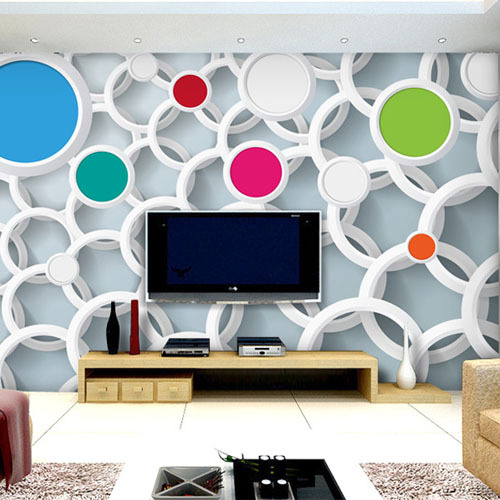 Large Photo Murals 3D Wall Paper For Living Rooms TV Background Wallpaper Mural Circle Multicolour Non-woven Customer