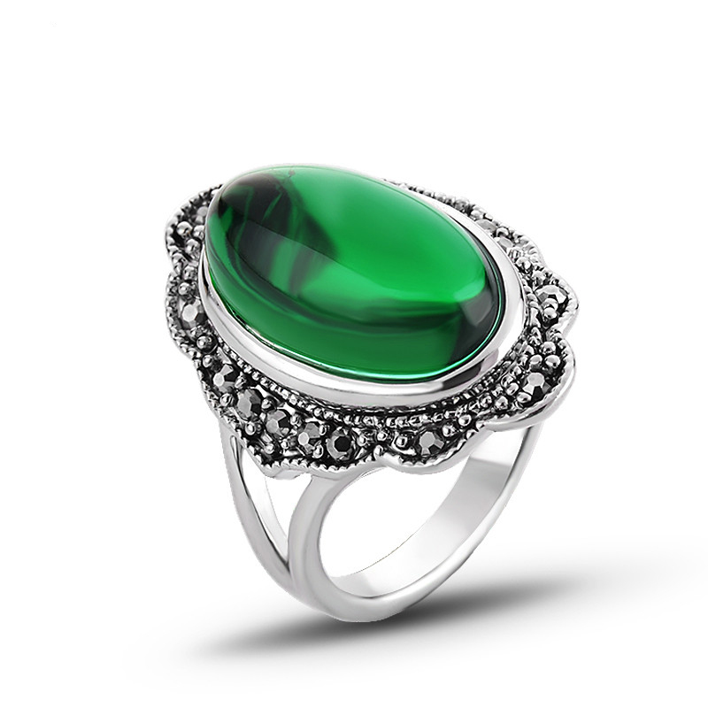 Kinel Vintage Green Stone Ring Antique Silver Fashion Boho Gray