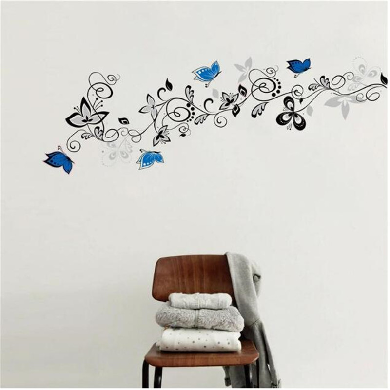 1PCS 50 70CM Large Black Blue Gray Butterfly Vine Sticker DIY Wall Decals Elegant For Kids Room Living Room Decor Home Art Mural in Wall Stickers from Home Garden