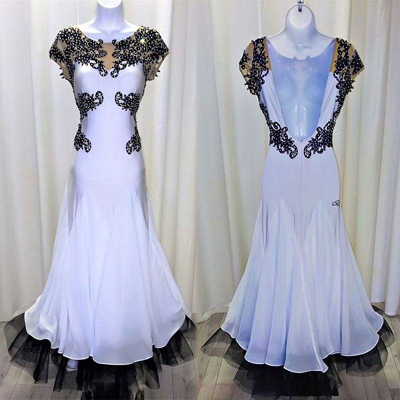Ballroom Dancing Dress Woman Modern Waltz Tango Backless Shortsleeve White Dance Dress Standard Ballroom Competition Costume