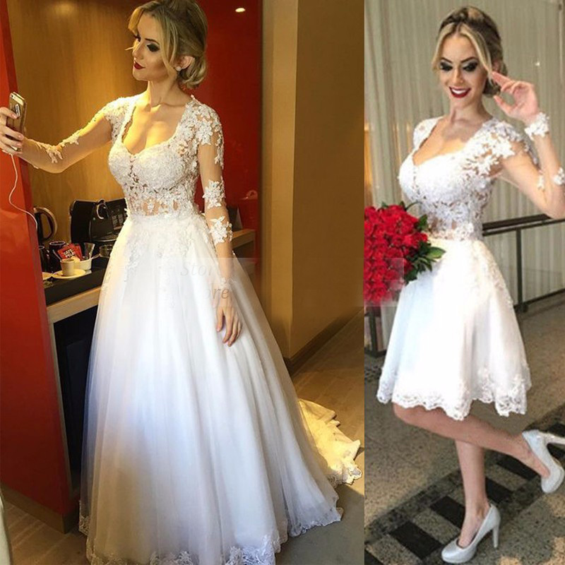 Short Wedding dresses with Detachable train A line Romantic Princess ...
