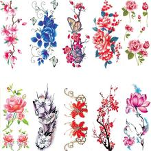 Beauty Rose Artificial Flowers Arm Shoulder Tattoo Stickers Flash Tattoo Fake Waterproof Temporary Tattoos Sticker Women On Body