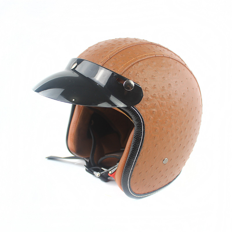 New Synthetic Leather Motorcycle Helmet Retro Vintage ...