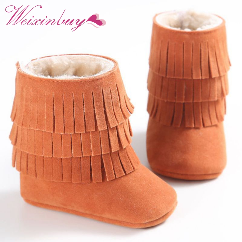Fashion Winter Infant Soft Newborn Shoes Baby Girl Boy Kid Fringe ShoesSoled Anti-slip Super Warm Boots Booties LM58