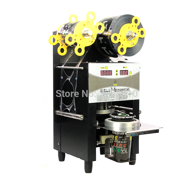 Automatic Plastic Cup Sealing Machine 95mm/90mm Electric Milk/ Coffee Cup Sealer Paper/Plastic Cup Sealing Machine M10 automatic cup sealing machine commercial plastic milk tea cup sealer portable electric drinks sealing machine m10
