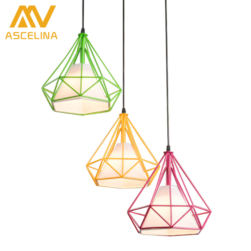D25cm Black Modern Art Pyramid Nordic Iron Diamond Pendant Lights Birdcage Ceiling Pendant lamps Home Decorative Light Fixture цена