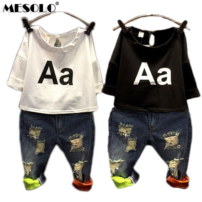 BOYS GIRLS Clothing Set Kids Autumn Fashion T Shirt Jeans Holes Denim Sets A Letter Summer Europe K1