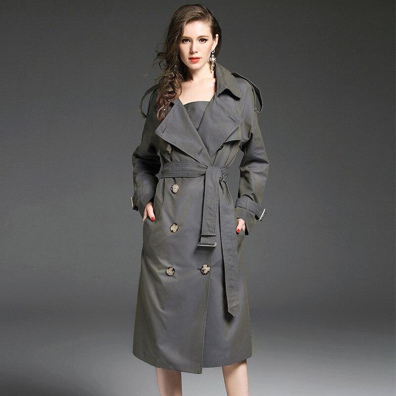 Trench Femmes Piste 2019 Coton Printemps vent Long Poussière See Manteaux Breasted Chart Cascade Taille Coupe Grande coat Gris Double Femelle Dames rwqBxfr