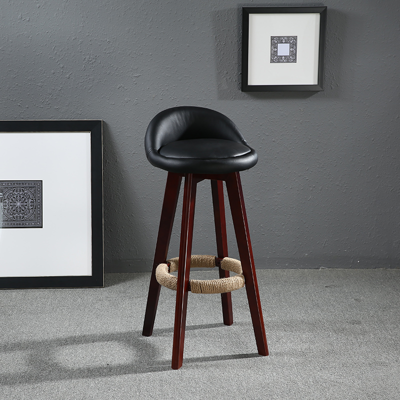 Seat Height 70cm Swivel Wood Bar Stool Chair Leather Upholstered Mahogany Cafe Kitchen Home Bar Furniture Chair Swivel Stool цена и фото