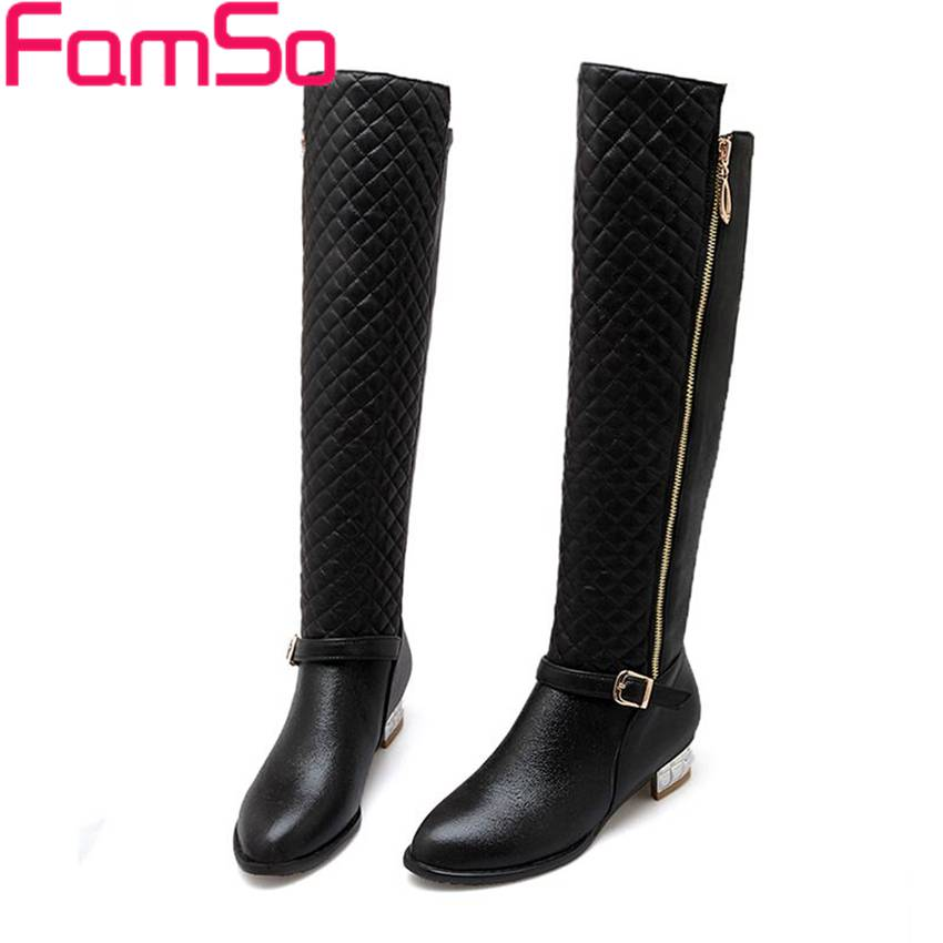 Plus Size34 43 2016 new Sexy font b Women b font Boots Black gold Silver Buckle