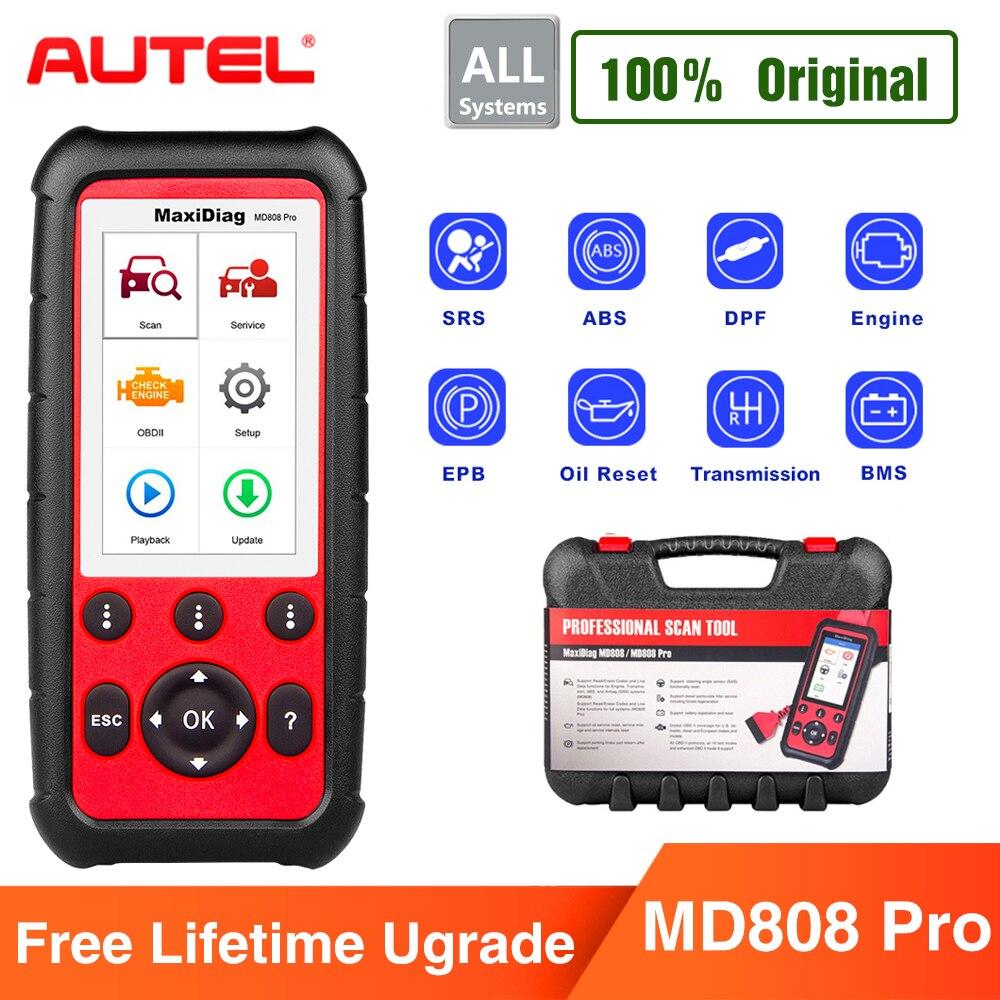 Autel MaxiDiag MD808 Pro Tutti I Sistemi di OBDII Scanner per il Petrolio e la Batteria di Reset Registrazione Freno di Stazionamento Pad Imparare di Nuovo, SAS, SRS, ABS
