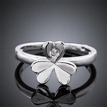 2017 Fashion Jewelry Simple High Quality Fashion Silver Plated Alloy Flower Rhinestone Female Ring Fine Jewelry Women Gift R056