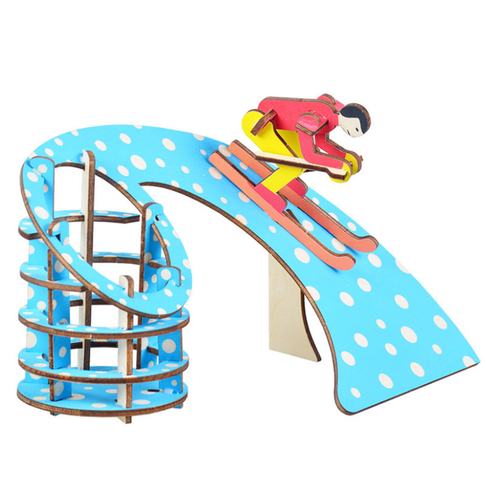 3D Educational Puzzle Wooden Toys Ski Shape Pen Holder Kids For Children