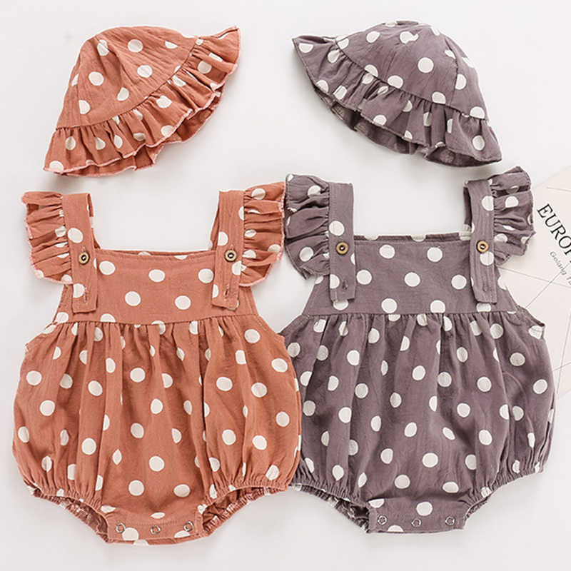 Baby Girls Rompers New 2019 Summer Clothes Fashion Cute Dot Rompers Kids Girls Clothing With Hat Jumpsuits