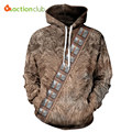 ACTIONCLUB 2017 Spring New Fashion Mens hoodies and sweatshirts With Cap 3D Print Simple Brown Hip Hop Coats Casual Sportswears