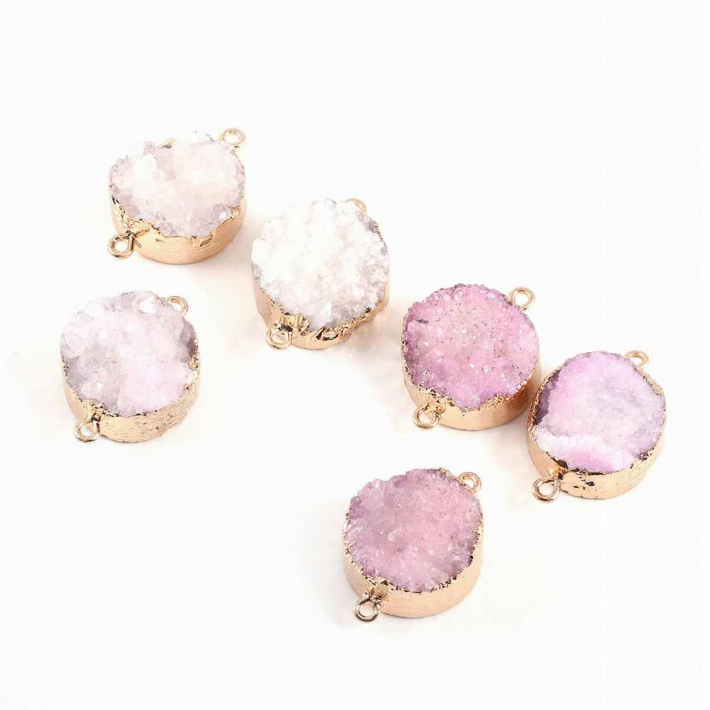 Natural Stone Connector for Jewellery Round Druzy Crystal Necklace Pendants Charms for Jewelry Making DIY Necklaces Bracelet