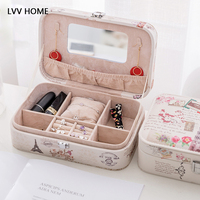 LVV HOME vintage leaning tower jewelry box/Lockable retro leather ring necklace storage case girlfriend