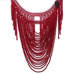 Image 5 - תכשיטים וינטג הצהרת גוף כתף ביב מלא שרף חרוזים שרשרת נשי צווארון כתף שרשרת ארוך נשים collares