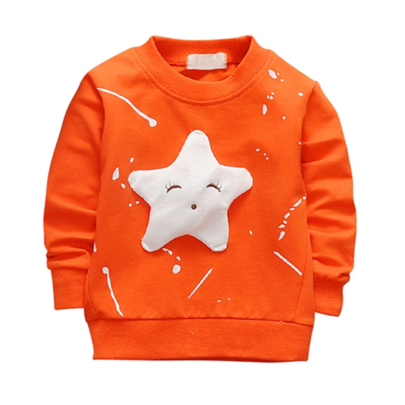 Autumn Baby Kids Solid Cotton Long Sleeve T-shirt Cute Star Pattern Printed Casual Style Pullover Kids Boys Girls Hoodies