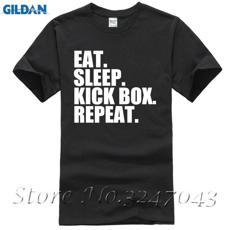 Eat. Sleep. Kick Box. Repeat. Kick Boxinger Mens T-Shirt Short Sleeve O-Neck Cotton T-shirt