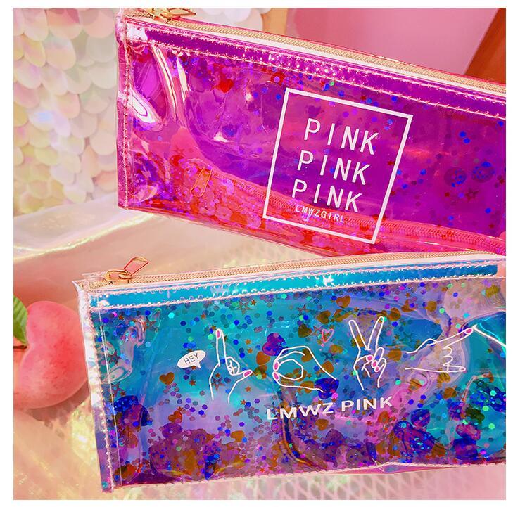 цена на My Shining Days Laser Fashion Pencil Bag 20*9*6cm Cool Fashion Stationery Free Shipping