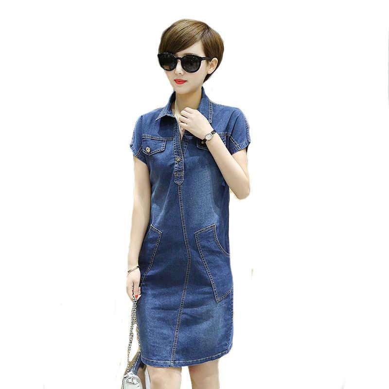 Большие размеры S-6XL женские с короткими рукавами летнее джинсовое платье Модные женские свободные джинсовое с v-образным вырезом платье с карманом джинсовая повседневная одежда