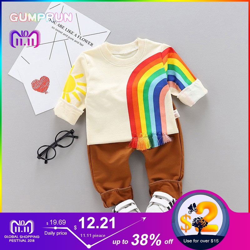 Kids Winter Clothes Rainbow Embroidery T-shirt Set Comfortable Warm Boys Children Clothing Girl Winter Clothes For Kids kids winter clothes floral print long sleeve t shirt set comfortable warm boys children clothing girl winter clothes for kids