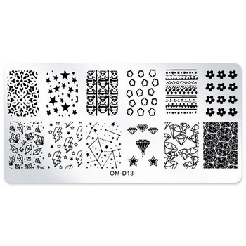 1 x 6*12cm Rectangle Nail Stamping Plates Star Diamond Flower Pattern Nail Art Stamp Template DIY Image Plates Stencils #OM-D13# недорого