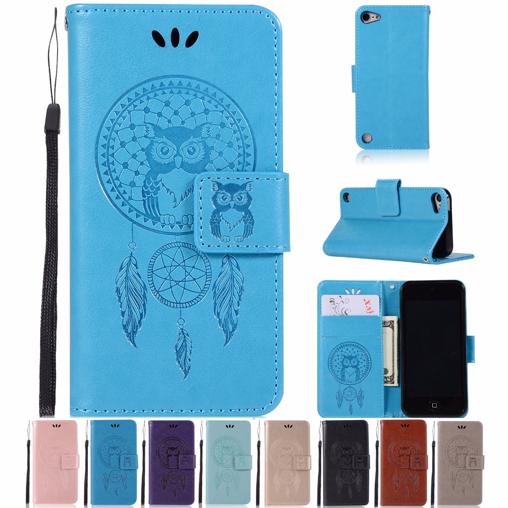 AIGLAT Case For Apple iPod Touch 5 6 PU Leather Case Stand Function Card Holder Embossed Owl Magnetic Flip Wallet Purse Case