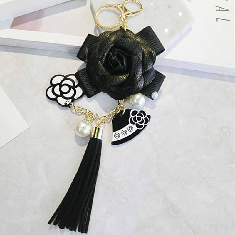 Sang trọng Túi Màu Đen Trắng Phụ Nữ Keychain Xe Sang Trọng Camellia Túi móc chìa khóa