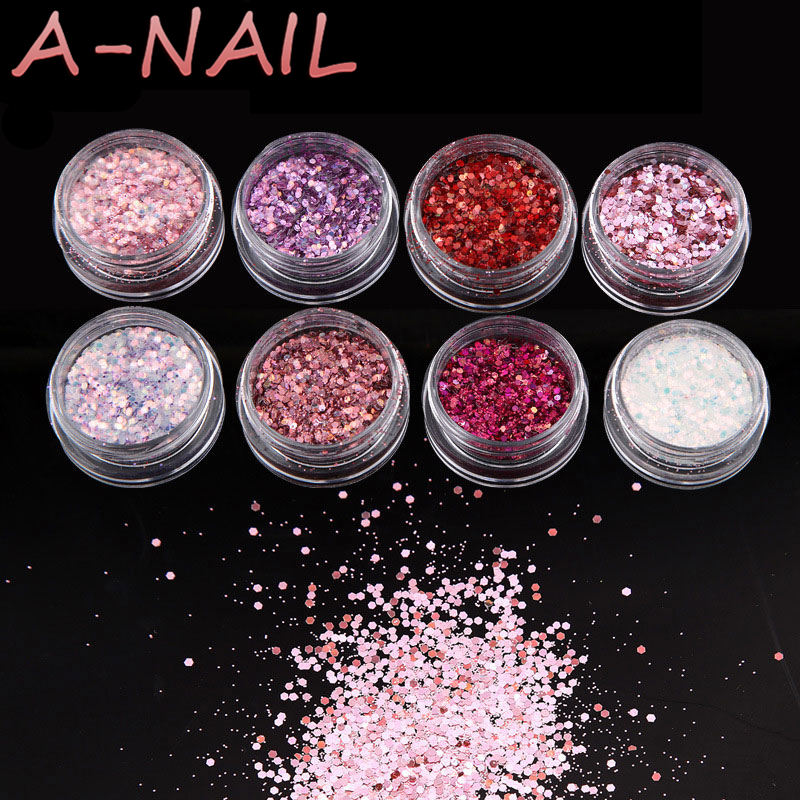 1set/8boxes 8 Pink Colors Shiny Nail Art Glitters Sequins Red Pink Purple Nail Tip Dust Powder Manicure Nail Art Decorations mioblet 2g box mirror effect nail glitter powder shiny rose gold purple mirror chrome powder dust nails art pigment diy manicure