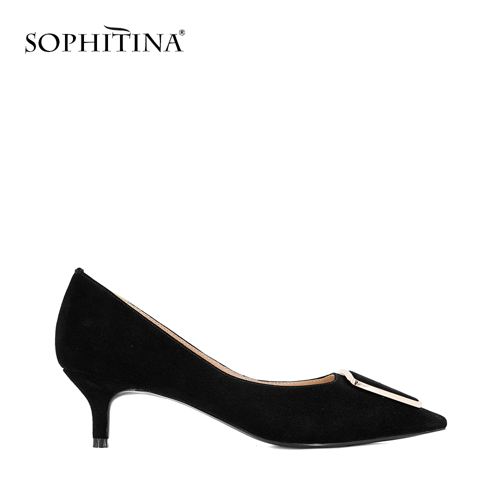SOPHITINA Handmade Pumps Wedding Party Lady Solid Pointed Toe Autumn Elegant High Thin Heels Shoes Sexy