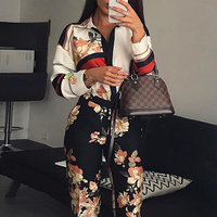 Turn down collar jumpsuits women Floral printed long sleeve jumpsuits romper Vintage spring long pants jumpsuit Plunging overall