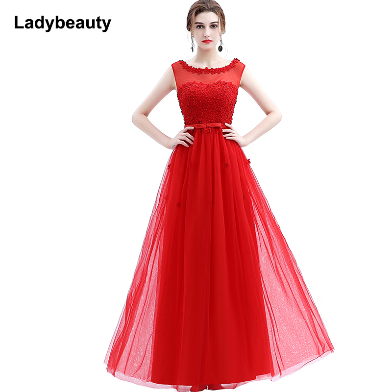 Ladybeauty 2018 Banquet Long Evening Dress Light Blue Lace Flower with Beading Romantic Appliques Prom Party