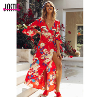 Jastie Red Floral Print Women Dress Female Boho Chic Maxi Dresses V Neck Side Slit Sexy