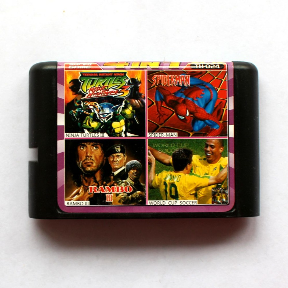 4in1 Ninja Turtles III+Spider Man+Rambo III+World Cup Soccer 16 bit SEGA MD Game Card For Sega Mega Drive For Genesis mickey mouse castle of illusion