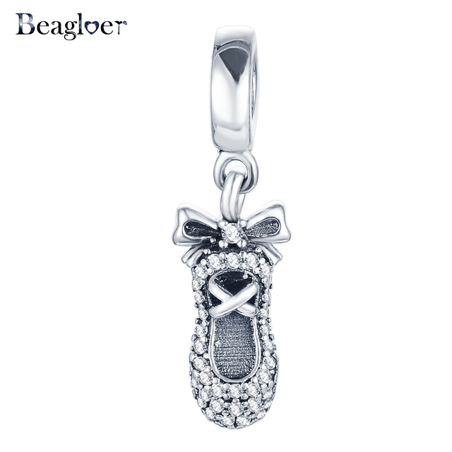 Beagloer 925 sterling silver ballet slipper pendant charm fit beagloer 925 sterling silver ballet slipper pendant charm fit handmade bracelet necklace diy jewelry making mozeypictures Images